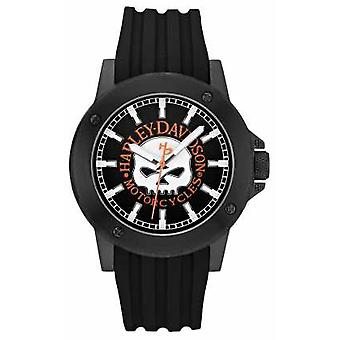 Harley Davidson Mens Leather Black Strap Black Dial 78A115 Watch