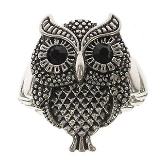 Antique Silver Owl Wise Stretchable Ring
