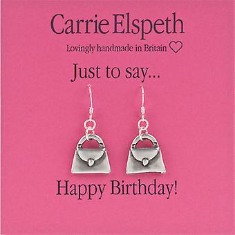 Carrie Elspeth sølv Happy Birthday Dolly håndtaske dråbe øreringe
