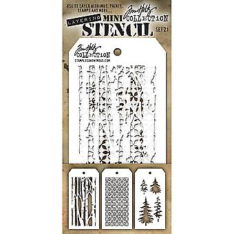 Tim Holtz Mini Layered Stencil Set 3/Pkg-Set #21 MTS-21