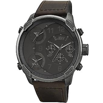 JBW diamond men's stainless steel leather watch G4 - gun metal