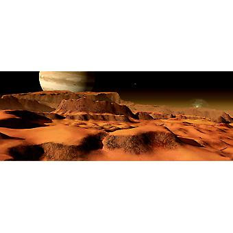 A panorama of the strange mesa-like mountains on Io Poster Print