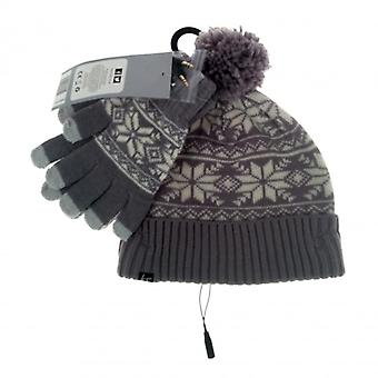 KITSOUND Beanie and Mitten Kit Headphone Beanie Grey Fair Isle