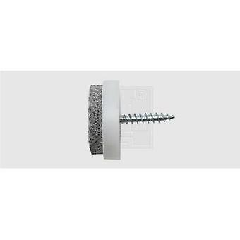 Felt slider screw fixing, circular White (Ø) 24 mm SWG