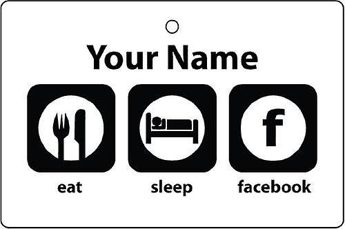 Personalised Eat Sleep Facebook Car Air Freshener