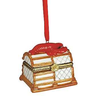 Red Lobster Fishing Trap Hinged Box Christmas Holiday Ornament