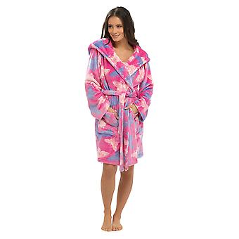 Ladies Butterfly Shimmer Fleece Hooded Thigh Length Robe With Hood