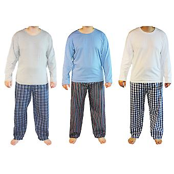 3pk Mens Haigman Cotton Long Pyjama nightwear lounge wear Multi Print