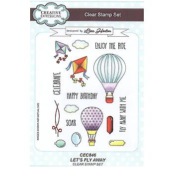 Creative Expressions Let's Fly Away A5 Clear 16 Stamp Set