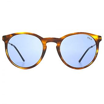 Polo Ralph Lauren Keyhole Round Sunglasses In Striped Havana