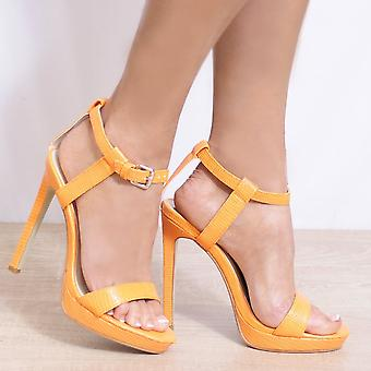 Koi Couture Ladies Fd54 Orange Lizard Print Strappy Sandals High Heels