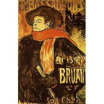 Henri Toulouse Lautrec - Aristide Bruant studie Poster Print Giclee