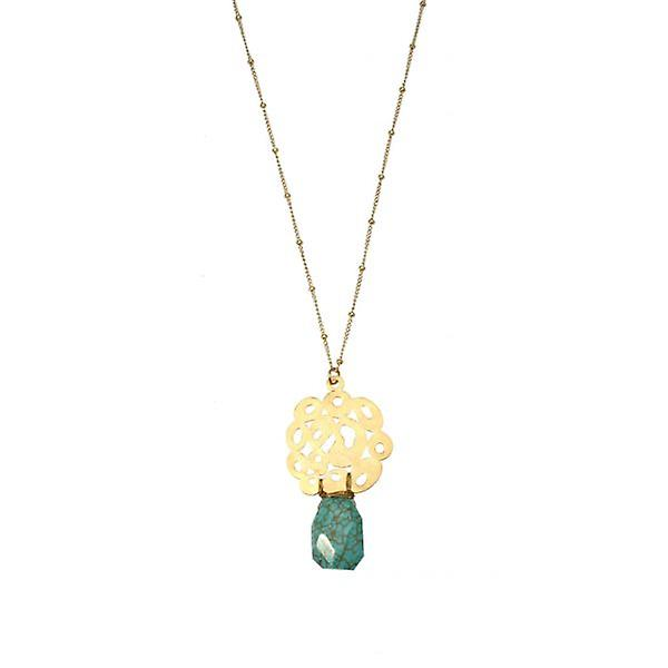 W.A.T Semi Precious Stone And Gold Circle Necklace