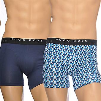 HUGO BOSS Cotton Stretch 2-Pack Cyclist Boxer Brief, Navy/Chequered Print, Large