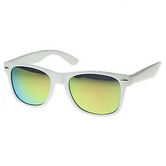 Битник Мода цвет Revo зеркало объектив рога оправе стиль очки белый