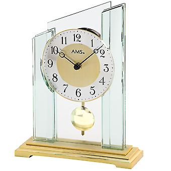 Table clock table clock quartz with pendulum mineral glass case