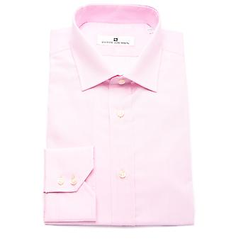 Pierre Balmain Men Slim Fit Cotton Dress Shirt Solid Pink