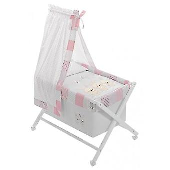 Interbaby Minicuna with textile canopied Pasword Natural and Pink