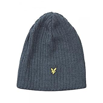 Lyle & Scott Ribbed Lambswool Beanie Hat, Mid Grey Marl