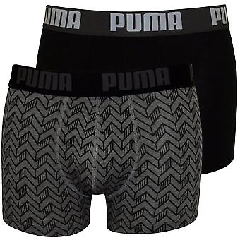 Puma 2-Pack Graphic Print Boxer Briefs, Grey Melange / Black