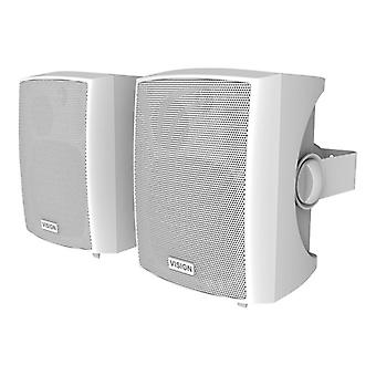VISION PAIR OF WHITE ACTIVE LOUDSPEAKERS 12w (rms) each, Two stereo line-level input summed: 1 x 3.5 mm minijack input/1 x