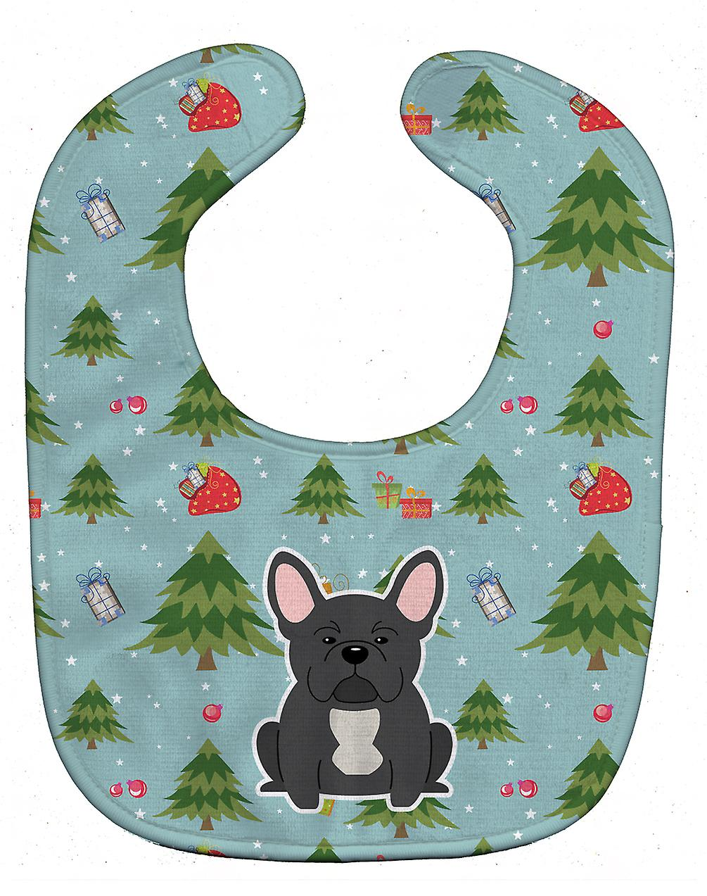 Carolines Treasures  BB4674BIB Christmas French Bulldog Black Baby Bib