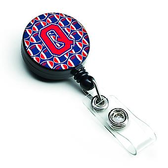Buchstabe Q Fußball Harvard Crimson und Yale blau versenkbare Abzeichen Reel