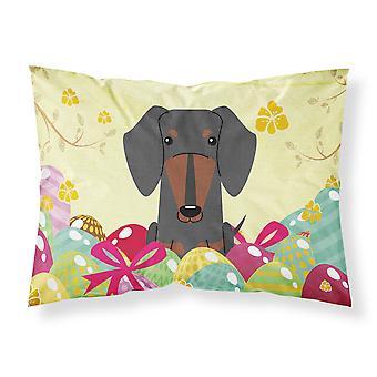 Easter Eggs Dachshund Black Tan Fabric Standard Pillowcase