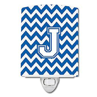 Buchstabe J Chevron blau und weiß Keramik Nachtlicht