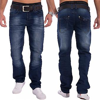 Men's Jeans dark blue regular fit denim stonewashed straight leg