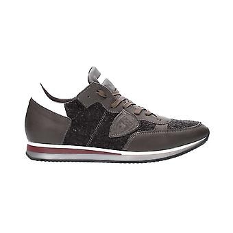 Philippe model men's TRLUQT01 brown leather of sneakers