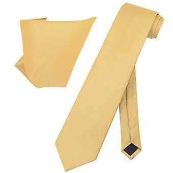 Vesuvio Napoli Solid EXTRA LONG NeckTie Handkerchief Mens Neck Tie Set