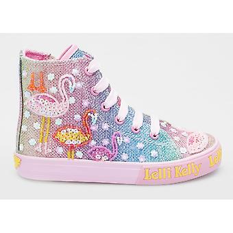 Lelli Kelly Flamingo LK5098 Multi Glitter High Top Trainers With Beaded Flamingo Design