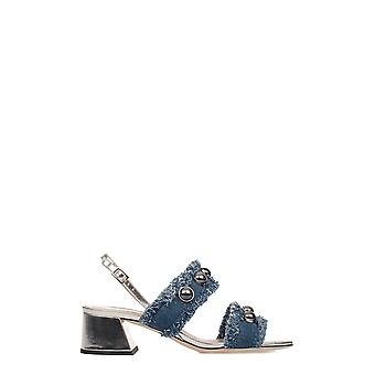 Alberto Gozzi women's BEA218STR silver/blue cotton sandals