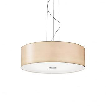 Ideal Lux Woody Ceiling Drum Shade Pendant Light, Beige Fabric
