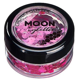 Holographic Chunky Glitter by Moon Glitter – 100% Cosmetic Glitter for Face, Body, Nails, Hair and Lips - 3g - Pink