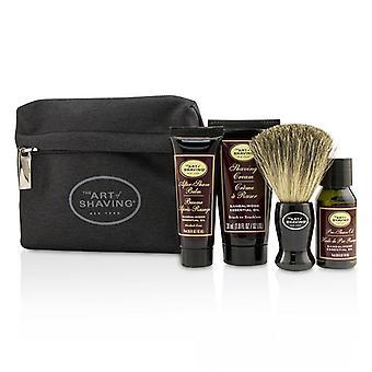 The Art Of Shaving Starter Kit - Sandalwood: Pre Shave Oil + Shaving Cream + After Shave Balm + Brush + Bag - 4pcs + 1Bag