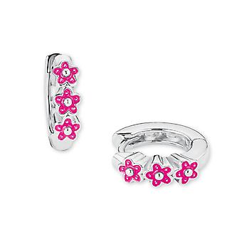 Princess Lillifee children earrings hoops silver flowers pink 2021026