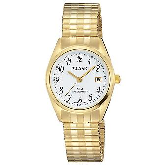 Pulsar Womens Gold Tone Stainless Steel White Dial PH7444X1 Watch