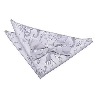 Silver Floral Bow Tie & Pocket Square Set
