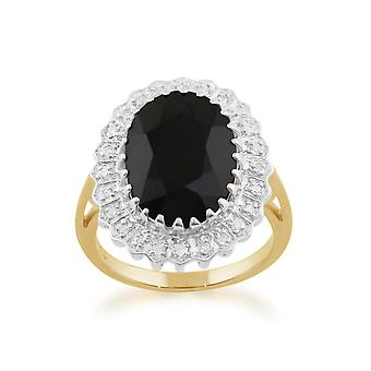 9ct Yellow Gold 7.00ct Natural Sapphire & Diamond Classic Cluster Ring