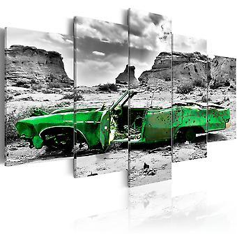Leinwand Drucken - grünes Retro-Auto am Colorado Wüste