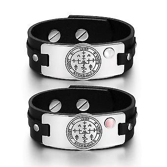 Ærkeengel Uriel Sigil kærlighed par hvid Pink simulerede Cats Eye Amulet sort læder armbånd