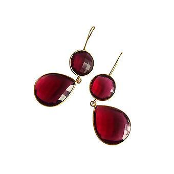 Gemshine - rood - verguld CANDY - quartz - dames - oorbellen - 925 zilver--drop - 6 cm