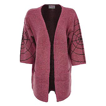 Ladies 3/4 Sleeve Open Front Knitted Spider Cobweb Women's Kimono Cardigan