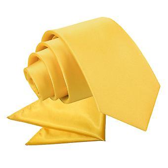 Goudsbloem platte satijnen stropdas & zak plein voor jongens instellen