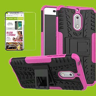 Voor Nokia 3.1 5.2 inch 2018 hybrid case 2 stuk SWL roze + gehard glas tas gevaldekking van mouw nieuw