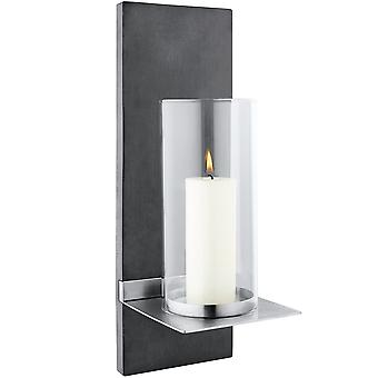 Blomus wall sconces FINCA candle, PolyStone with stainless steel matte and clear glass
