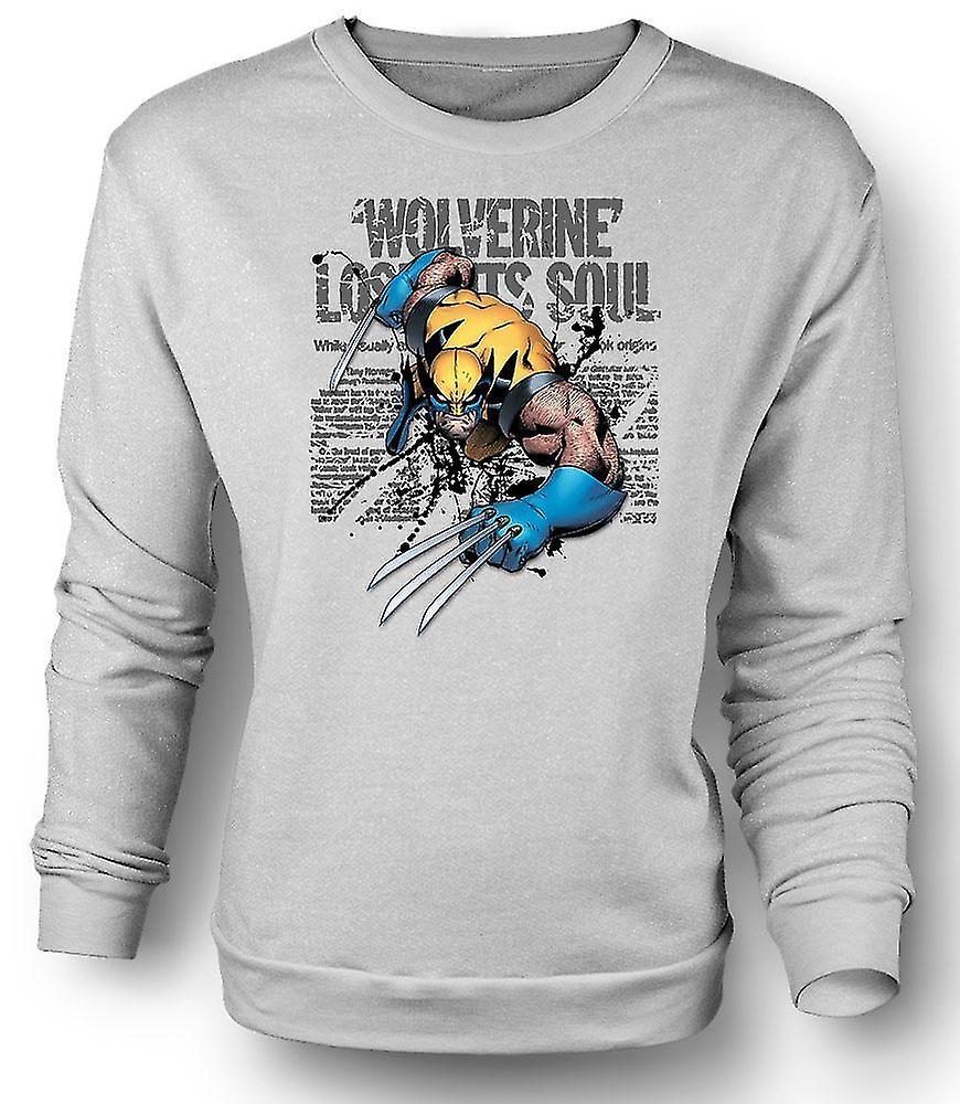 Mens Sweatshirt Wolverine - verlorene Seele - komischen Helden