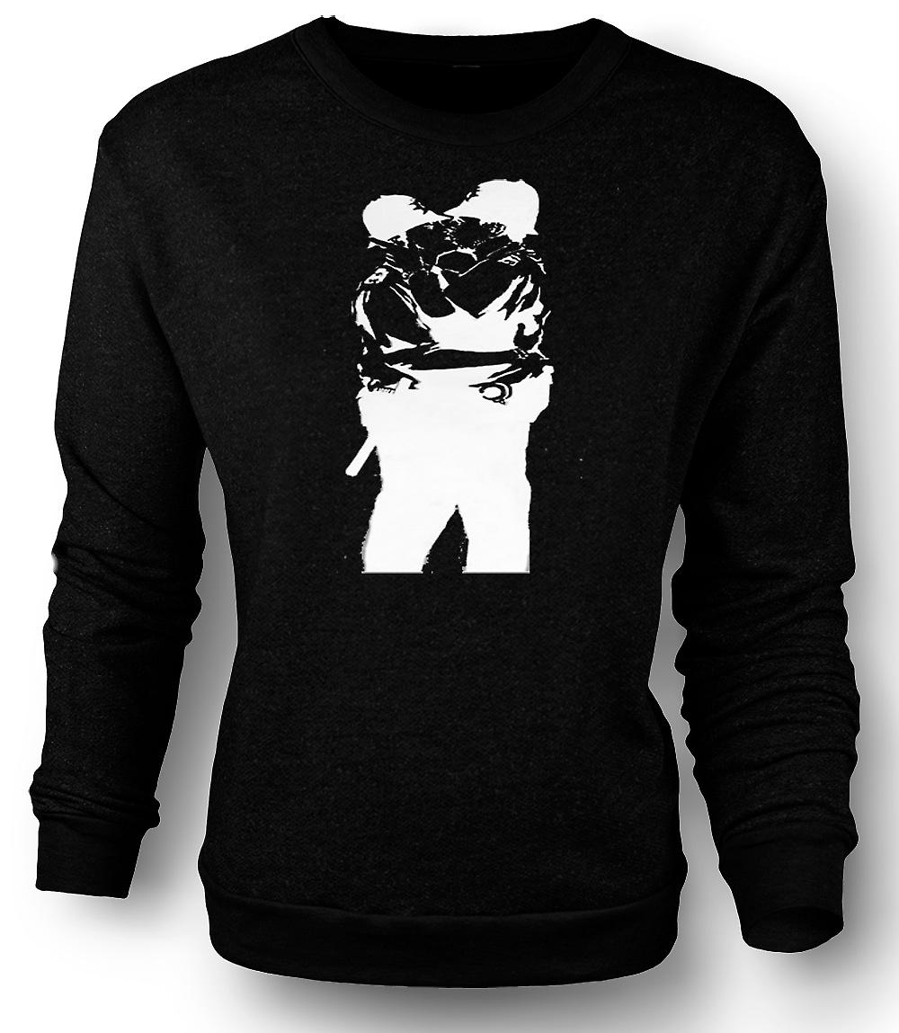 Mens Sweatshirt Banksy Graffiti Art - Gay Police